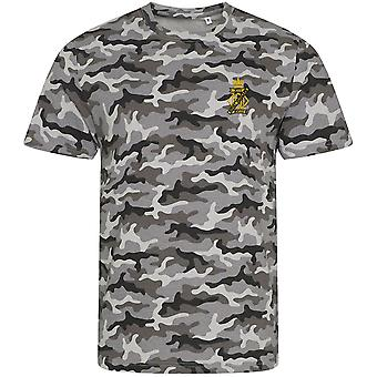 13th 18th Royal Hussars - Licensed British Army Embroidered Camouflage Print T-Shirt