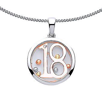 Jewelco London Damen Rose vergoldet Sterling Silber CZ schwimmende Perle 18 Geburtstag Anhänger Halskette 18 Zoll