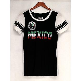 Freeze T-Shirt Top Colorblocked Short Sleeve Graphic Print Black / White