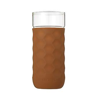 Honeycomb Anti-skid Glass with Silicone Sleeve 380ml in Brown