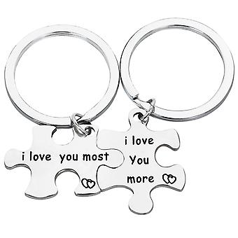 TRIXES I Love You I Love You Most   Jigsaw Puzzle Metal Keyring -2 Way Split -Silver Colour