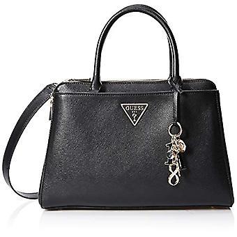 Guess Maddy Girlfriend Satchel White Women's Handbag Bag (Black) 34.5x24.5x14 cm (W x H x L)