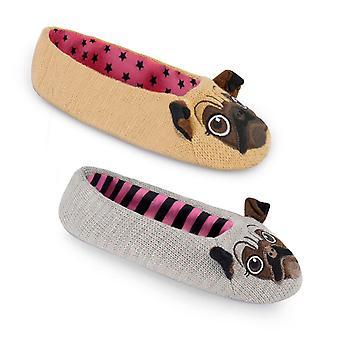 Pug Dog Slippers In Slip-On Ballerina Ballet Pump Style For Women/Ladies/Teen Girls UK/EU Sizes