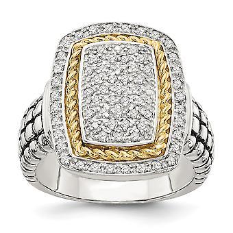 925 Sterling hopea kuvioitu kiillotettu ja 14k keltainen timantti rengas koruja lahjoja naisille - Rengas koko: 6-8