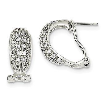 925 Sterling Zilver Solid Gepolijst CZ Cubic Zirconia Gesimuleerde Diamond Omega Back Oorbellen Sieraden Geschenken voor vrouwen