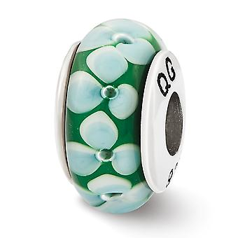 925 Sterling Silver Polished finish Reflections Teal Flowers Hand Blown Glass Bead Charm Pendant Necklace Jewelry Gifts