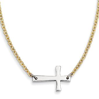 Stainless Steel Polished Fancy Lobster Closure Yellow Ip plated Chain Sideways Religious Faith Cross Necklace 17 Inch Je