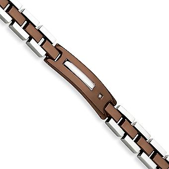 Stainless Steel Polished Fold over Brown IP plated Brown color IP plated Bracelet 8.5 Inch Jewelry Gifts for Women