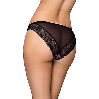 Vena VF-371 Women's Dark Pink and Black Floral Lace Brief