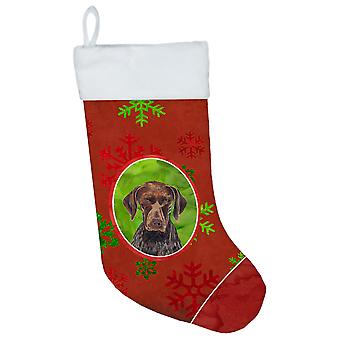 German Shorthaired Pointer Red and Green Snowflakes Holiday Christmas Stocking