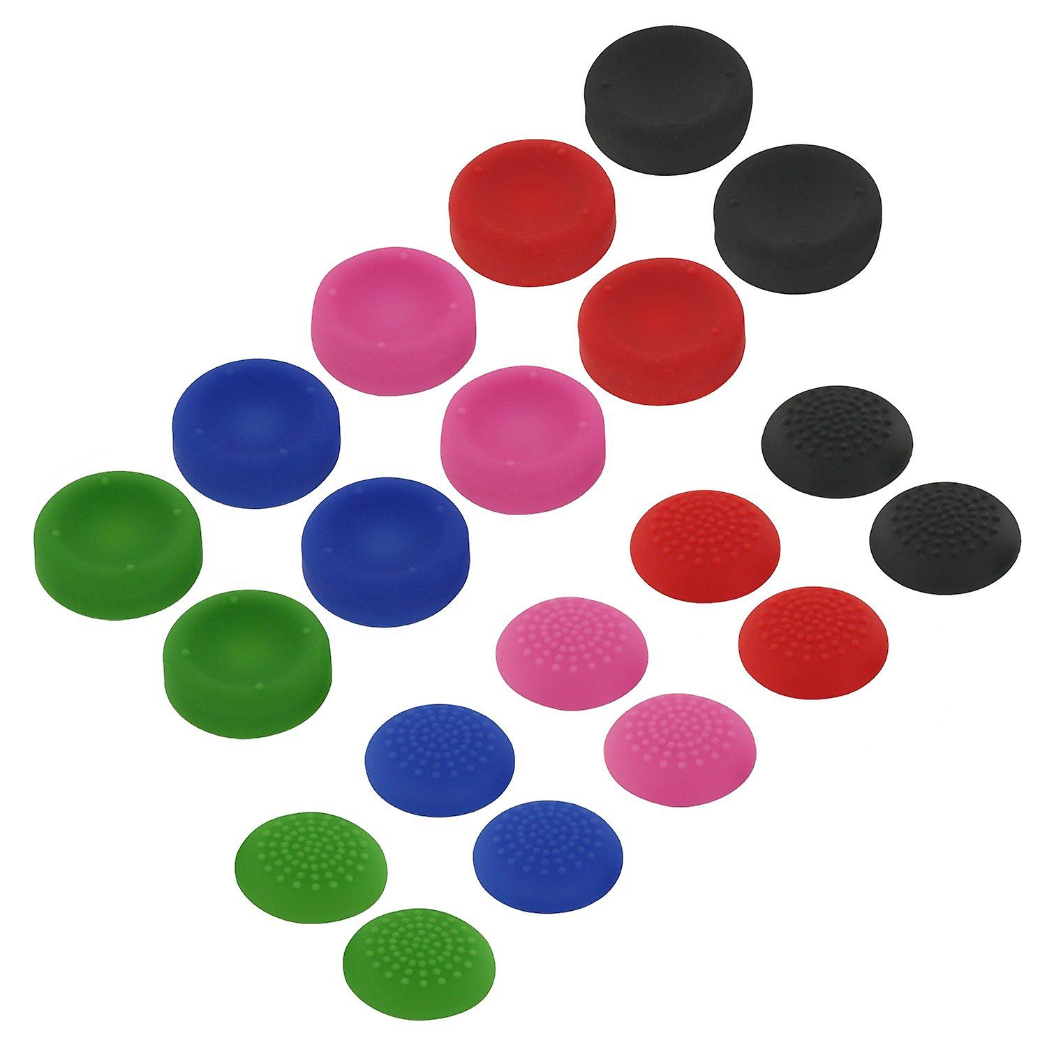 Concave & convex soft silicone thumb grips for sony ps4 analog sticks - 20 pack multi colour
