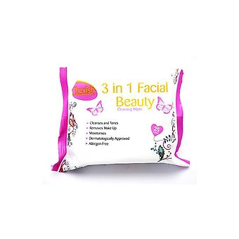 Cherish 3-in-1 Facial Cleansing Wipes - Pack Of 25