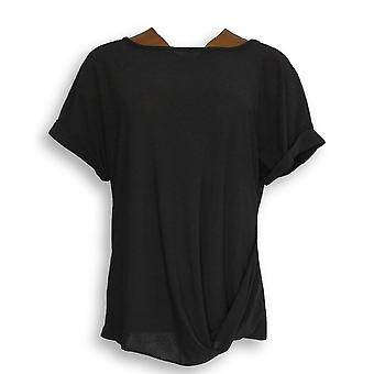 Attitudes by Renee Women's Top Roll Sleeve Crepe Jersey Black A290722