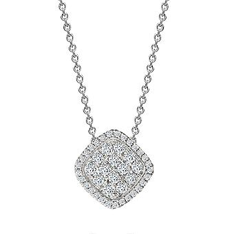 Jewelco London Solid 18ct White Gold Pave Set Round H SI 0.55ct Diamond Square Cushion Cluster Cluster Pendant