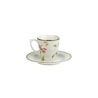 Laura Ashley Espresso Cup and Saucer, Cobblestone Pinstripe