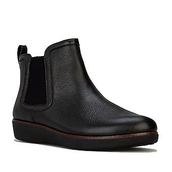 Womens Fitflop Chai Classic Leather Chelsea Boots In Black