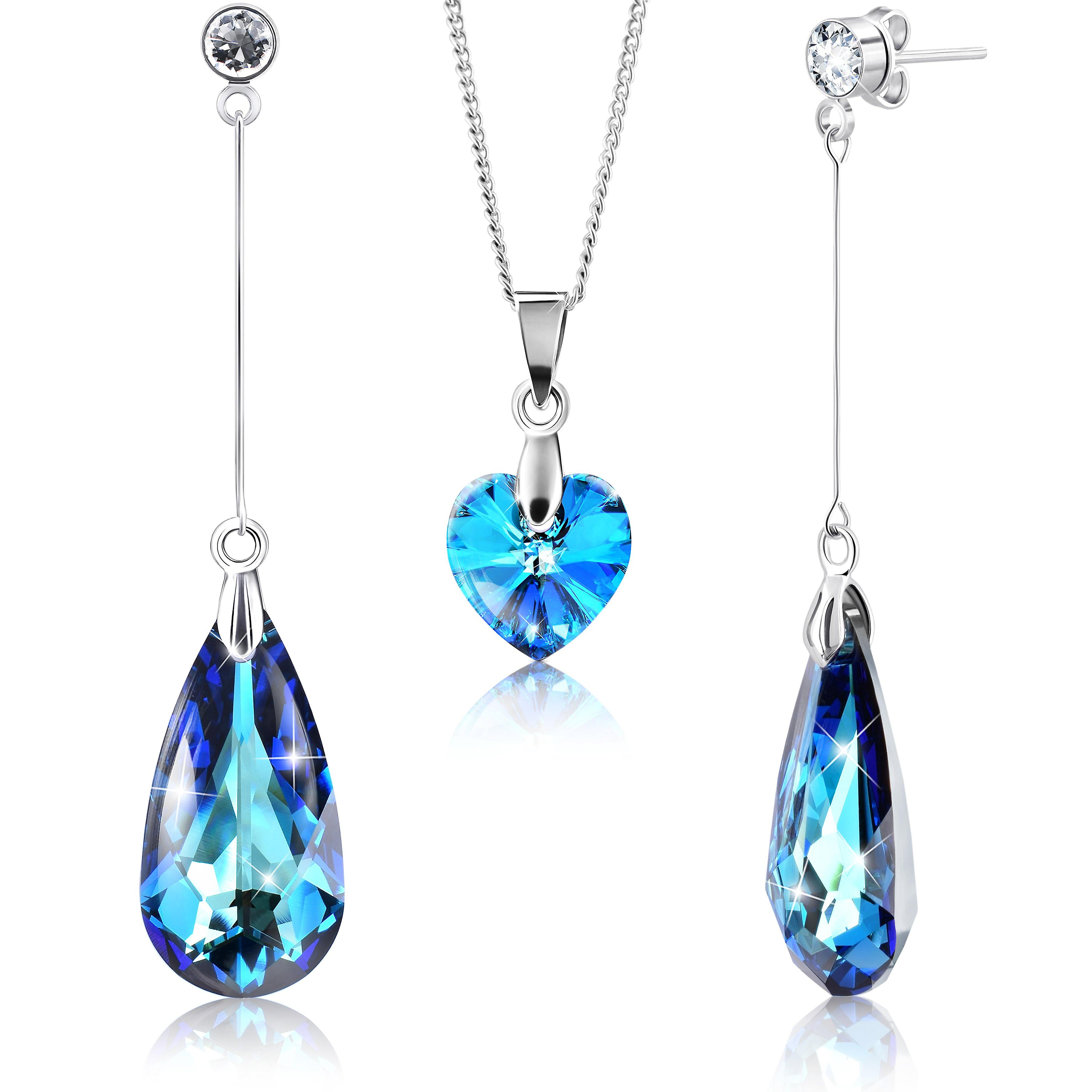 Rhodium plated earrings and necklace set with swarovski crystals by 2splendid. set of 2. gift box. enqz034