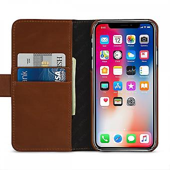 Case For IPhone Xs / X True Leather Cognac Card Holder