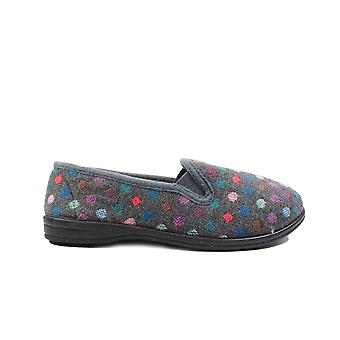 R&R Zoe Grey Textile Womens Slip On Full Shoe Slippers