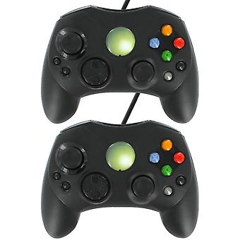 Zedlabz compatible wired slim s-type gamepad controller for original microsoft xbox - 2 pack black
