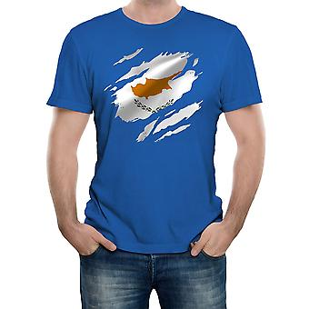 Reality glitch torn cyprus flag mens t-shirt