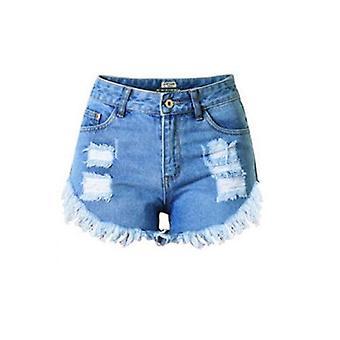 Høj indsnævrede ristet beige håndspundenuld stonewash denim shorts