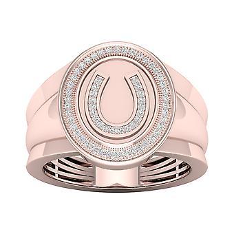 Igi gecertificeerd 10k roségoud 0.18ct tdw natuurlijke diamant hoefijzer mannen's ring