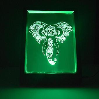 Engraved Elephant Head Colour Changing RC LED Mirror Light Frame
