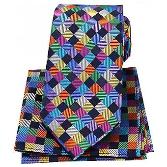 Posh and Dandy Diamonds Luxury Silk Tie and Hanky Set - Multi-colour