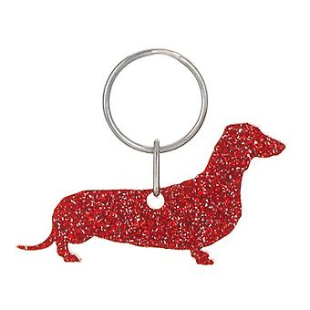 Red Smooth Coat Dachshund Style 6 Glitter Acrylic Keyring