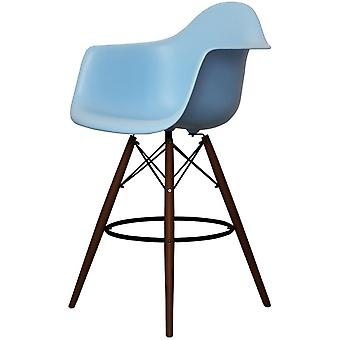Charles Eames Style Blue Plastic Bar Stool With Arms - Walnut Legs