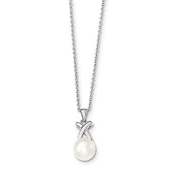 925 στερλίνα ασημένια 9 10 mm λευκό γλυκού νερού καλλιεργημένα μαργαριτάρια αλυσίδα διαφανειών λαιμό κοσμήματα δώρα για τις γυναίκες