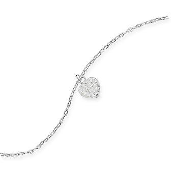 9 Inch + 1 Inch Extention 925 Sterling Silver Anklet Clear Swarovski Crystal Love Heart Charm Jewelry Gifts for Women
