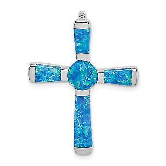 925 Sterling Silver Simulated Opal Religious Faith Cross Slide Pendant Necklace Jewelry Gifts for Women