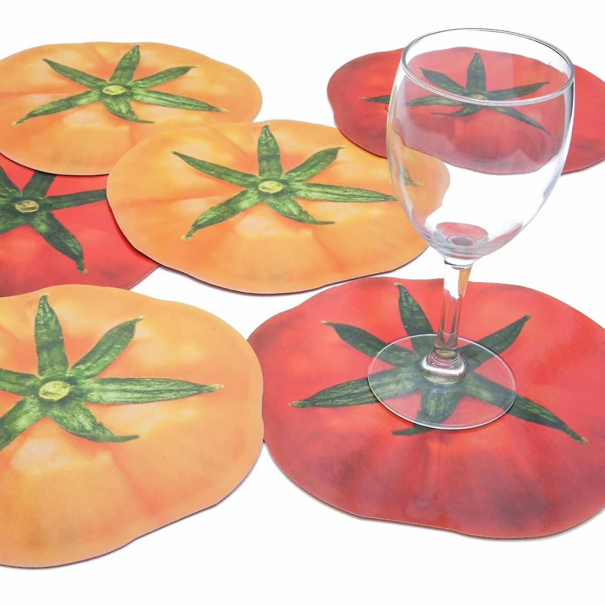 6 glass coasters motif tomato red and yellow
