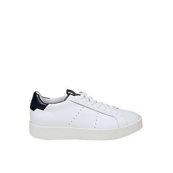 Santoni Mbwi21303barxdspi50 Men's White/blue Leather Sneakers