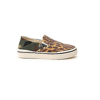 R13 R13s0155974 Women's Leopard Fabric Slip On Sneakers