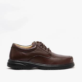 Roamers Lowell Mens Leather Wide E Fit Shoes Brown