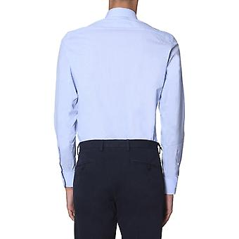 Z Zegna 6051009dfedig Men's Light Blue Cotton Shirt
