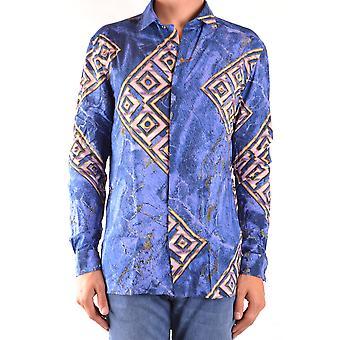 Versace Ezbc070017 Mænd's Blå Viskose Skjorte