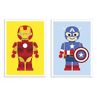 2 Art-Posters - W20370 - Duo Ironman and Captain AMerica Toys - Rafa Gomes