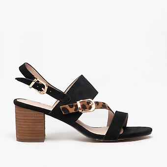 Lotus Melissa Ladies Block Heel Sandals Nero/leopardo