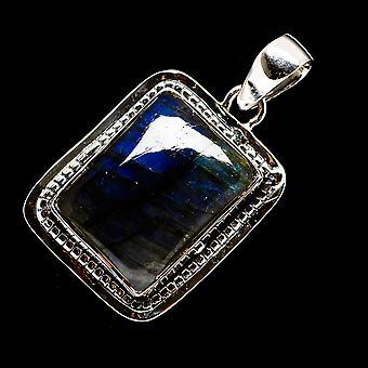 لابرادوريت قلادة 1 1/2 & ونقلت؛ (925 الجنيه الاسترليني الفضة) - اليدوية بوهو خمر مجوهرات PD722916
