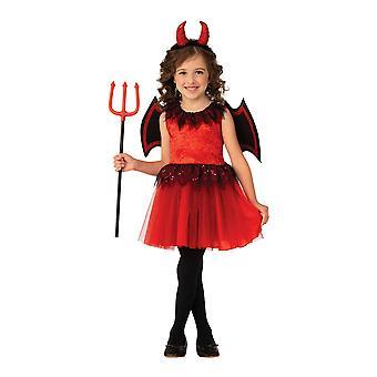 Girls Devil Fancy Dress Costume Halloween Outfit