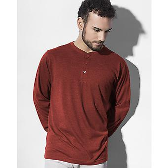 Nakedshirt  Mens Aden Henley Long Sleeve T-Shirt