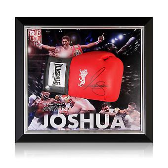 Anthony Joshua Signed Red Boxing Glove. Framed