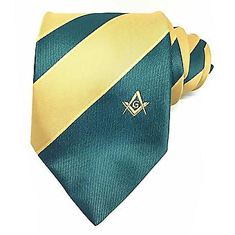 Frimurere grønne og gule slips med firkantet kompass & g