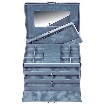 Sacher sieraden geval sieraden doos PASTELLO blauwe kasteel spiegel laden