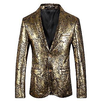 Cloudstyle Men's Blazer Cotton Gold Floral Suit Jacket