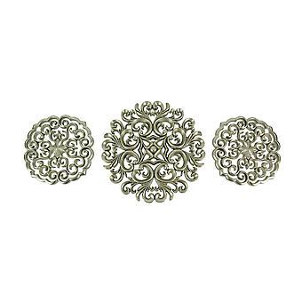 Conjunto de 3 Esculturas de Parede de Medalhão Moderno do Século Médio Acabamento Metálico